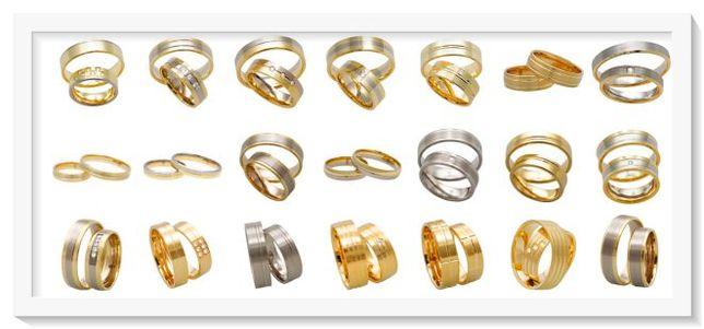 złote obrączki 375 lub 333 proste fazowane z kamieniami, bez kamieni