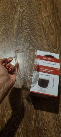 Стеклянная чашка премиум класса, кружка с двойным дном.