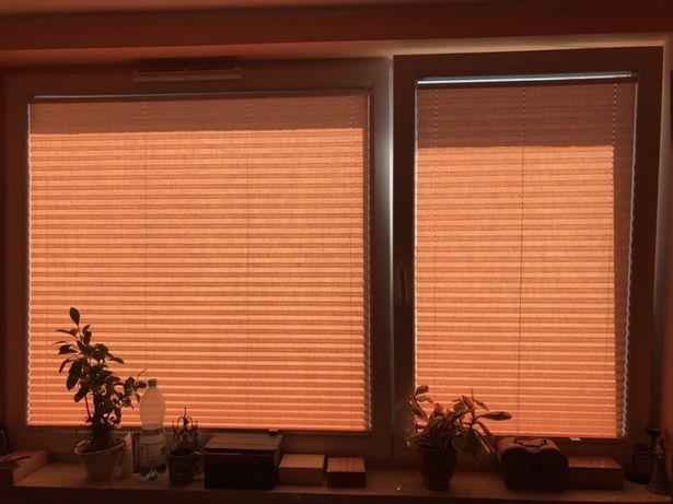 Dwie rolety plisy w kolorze ceglanym na okna 70x124 cm i 126x124 cm