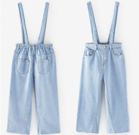 Zara nowe spodnie jeansowe typu culotte z szelkami 13 14 lat 164 tanio