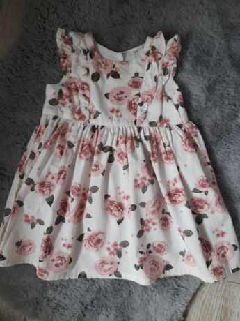 Sprzedam poszukiwaną  sukienkę H&M w róże rozm.80 jak newbie