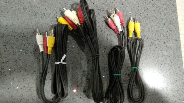 3 cabos de vídeo RCA macho-macho