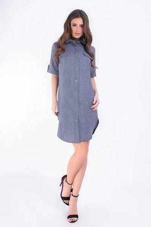 Платье рубашка Лен летнее лёгкое платье 42 44 46 48 S M l XL арт 827