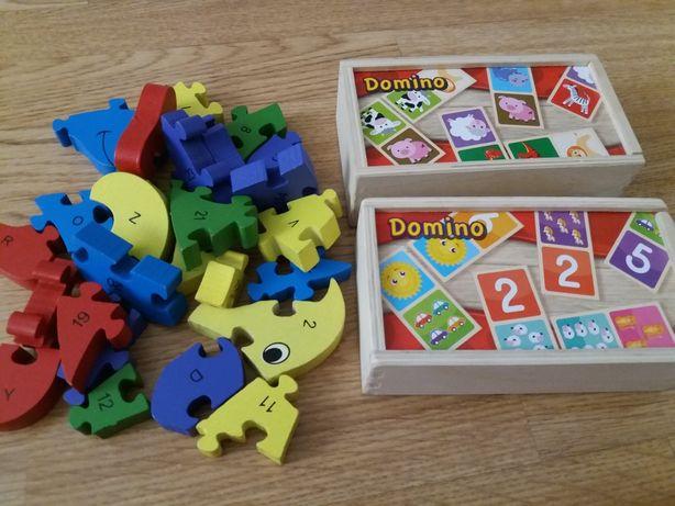 Drewniane klocki, alfabet, cyferki, domino