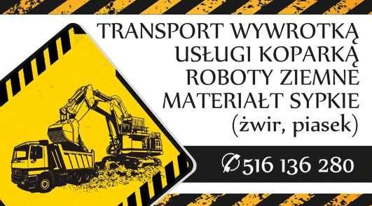 Transport wywrotka 20t, żwir, kliniec, tłuczeń, piasek, ziemia.