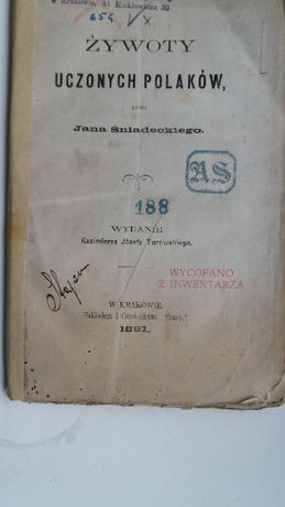 Żywoty uczonych Polaków z 1861 r. J.Śniadecki