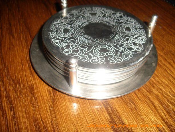 Srebrne podstawki pod szklanki/filiżanki(plater)