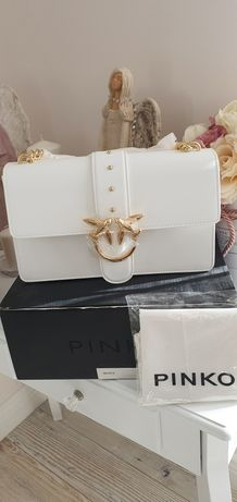 Biała torebka pinko love Simply skóra naturalna jakość premium nowa
