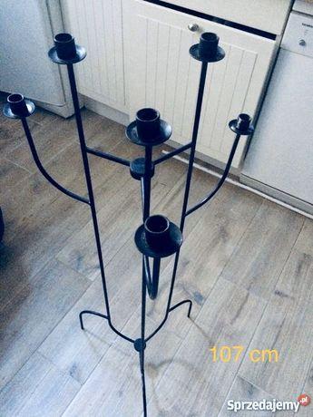 Duży 107cm wysoki świecznik metalowy dekoracja prezent 6 świec