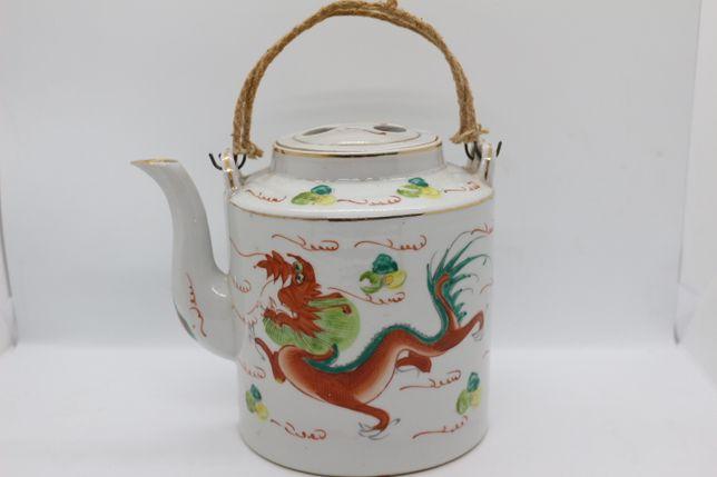 Bule em Porcelana Chinesa Fundo Branco Dragão e Pássaro XX