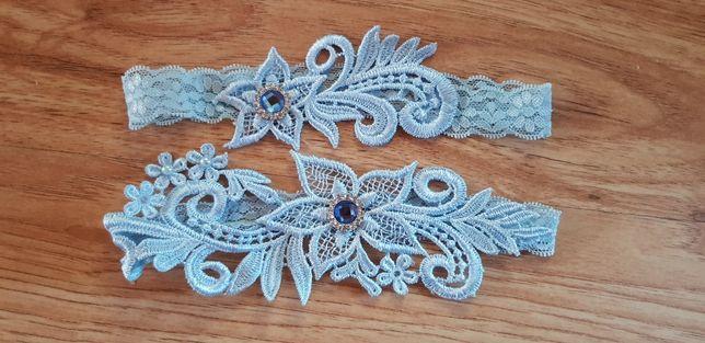 Podwiazki bizuteryjne niebieskie dla panny młodej