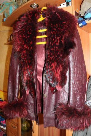 Зимняя кожаная куртка с мехом 44р