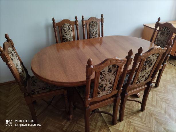 Drewniany stół z sześcioma krzesłami pilne!