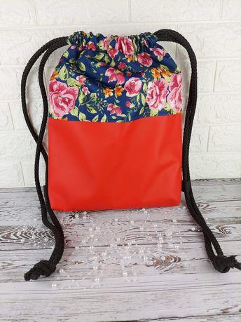 Piękny plecak, worko-plecak, wodoodporny, eko skóra, wzory