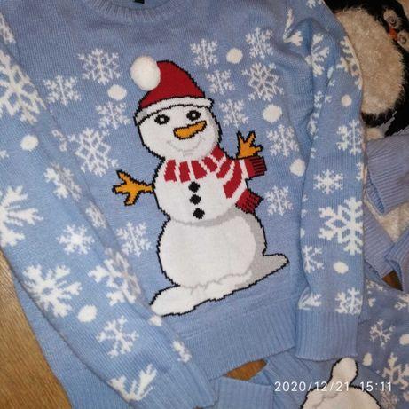Новогодние свитерки парные, семейные, family look