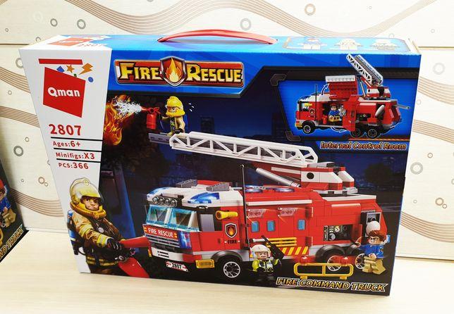 Большой конструктор 366ед Пожарная машина бригада для мальчика