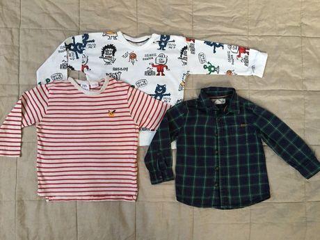 Zara, H&M, rozm. 92, zestaw: koszula + 2 koszulki na długi rękaw