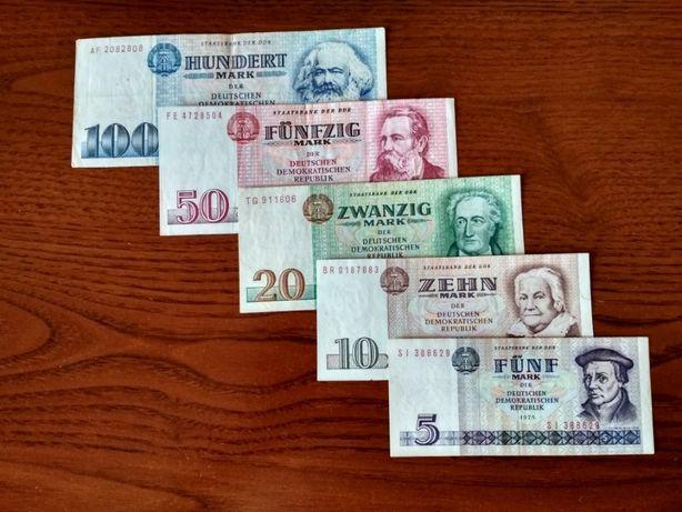 Банкноты Германия (ГДР) 5,10,20,50 и 100 марок.
