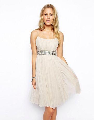 Suknia beżowa/biała ASOS ślub, bankietowa,wesele, studniówka XS