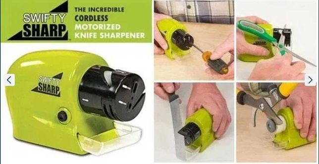 Электро точилка для ножей и ножниц на батарейках SWIFTY SHARP