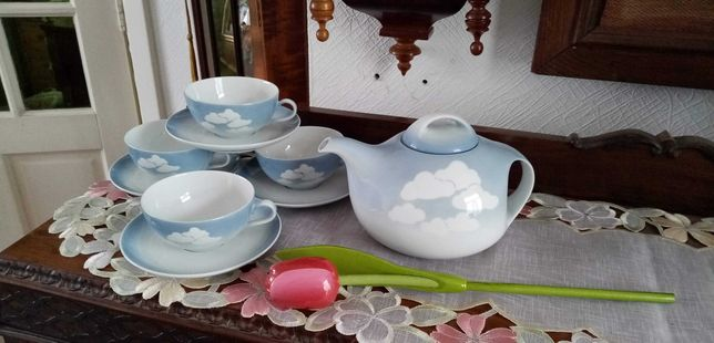 Uroczy serwis do herbaty z chmurkami bawarska sygnowana porcelana