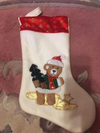 Носок,новогодний,сапожок,сапог,для подарков,мишка