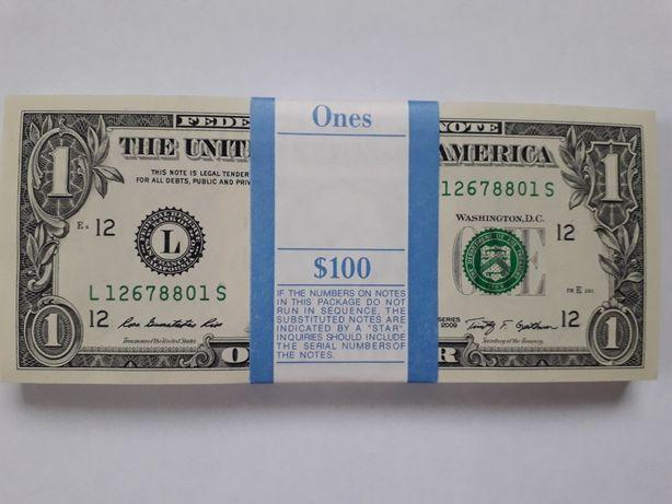 100$ по 1$ в банковской упаковке
