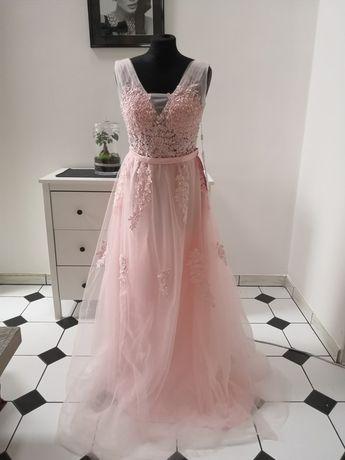 Suknia ślubna suknia maxi S m impreza ślub wesele dekold v tiul unikat