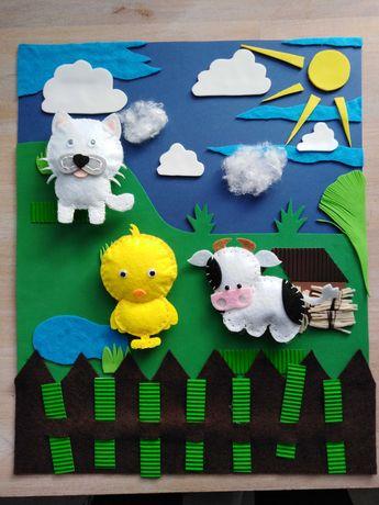 Farma zwierzaków, Quiet book, obrazek sensoryczny dla dzieci, maskotki