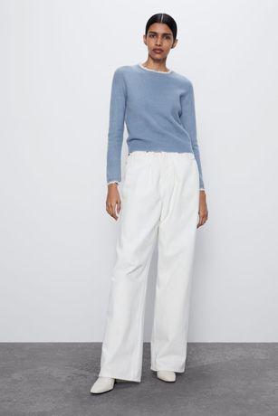 Zara sweter ze wstawką z tkaniny plumeti