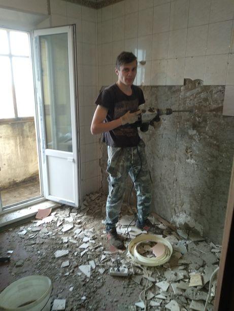 Полный демонтаж квартиры, стяжки пола, стен, перегородок, плитки, окон