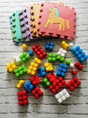 Piankowe puzzle ze zwierzątkami 10szt. + duże pierwsze klocki 33szt.