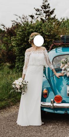 Suknia ślubna retro rustykalna boho rozm.36 lekka ecru OKAZJA