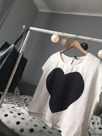 Bluzka z serduszkiem oversize H&M