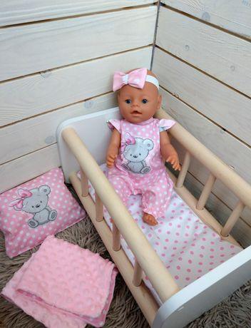 Розовая постелька для пупса или куклы в кроватку или коляску