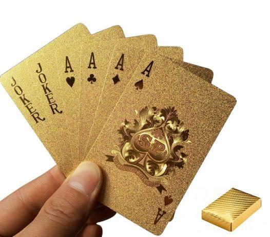 Złote karty do gry w pokera zestaw do gry talia 54