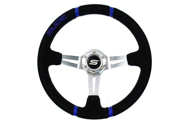 Kierownica Slide 350Mm Offset:80Mm Skóra Blue