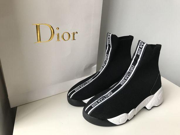 Dior czarne buty skarpeta elastyczne 37