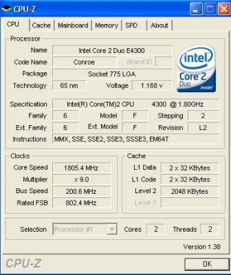 Procesor Intel Core 2 duo E4300 socket Lga 775