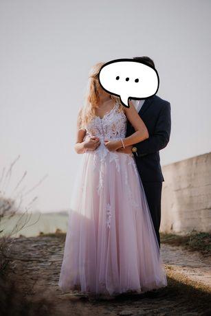 Niepowtarzalna suknia ślubna , tiul 38 na 175cm