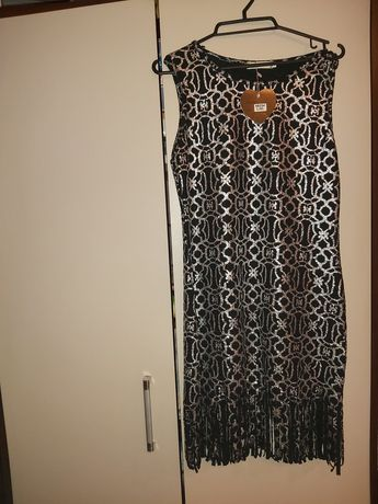 Sukienka  srebrno czarna nowa