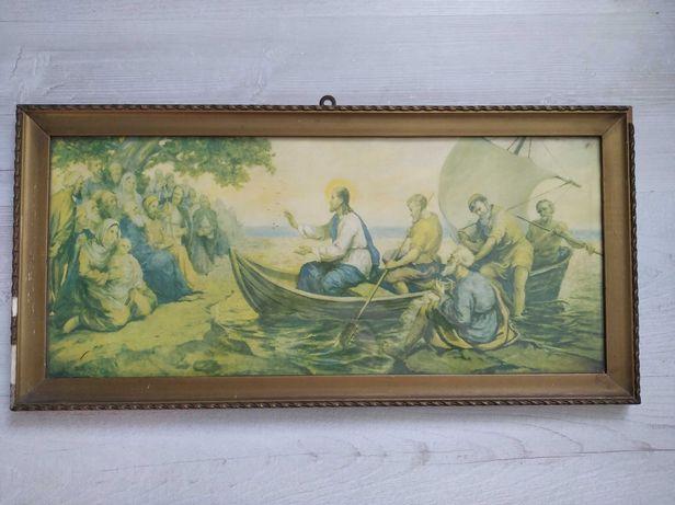Święty stary obraz Jezus na łodzi religijny antyk w złotej ramie