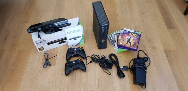 XBOX 360 S + 2 pady + KINECT + 7 gier