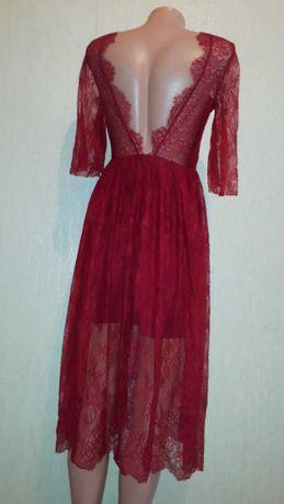 Вечернее кружевное платье с открытой спиной sandro paris размер s