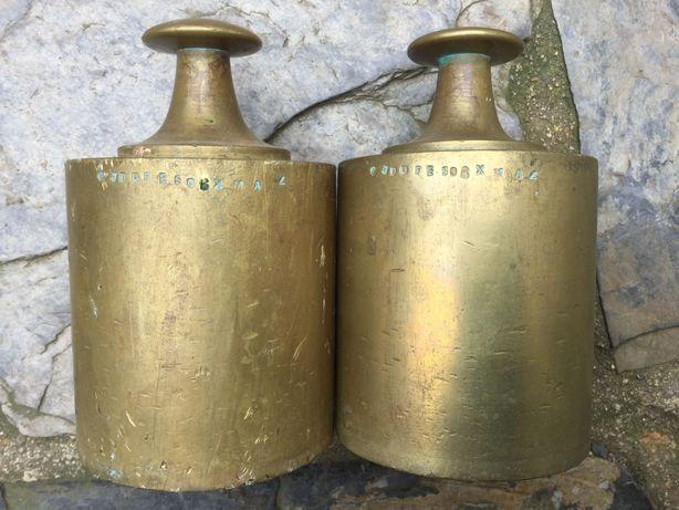Dois pesos 5Kg em bronze (10Kg) antiquíssimos com aferição época
