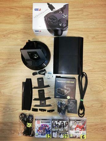 PS3 SUPER SLIM 500GB + pad MLG pro + mikrofon + gry + stojak ładowarka