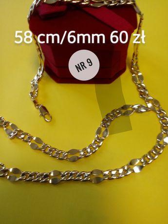 Złoty łańcuszek, stal chirurgiczna 58 cm/6mm