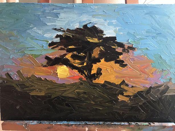 Картина масло закат в Саване sunset