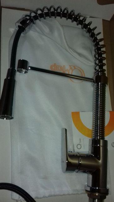 Латунный смеситель для кухни с изливом на пружине Q-tap Tenso 013f