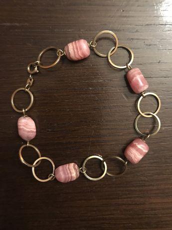 Bransoletka złota  z różowymi kamieniami